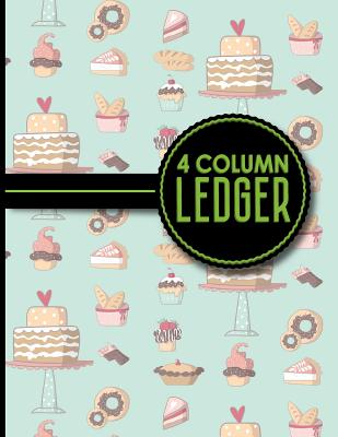 4 Column Ledger: Accounting Journal Book, Bookkeeping Ledger For Church, Ledger Record Book, Cute Baking Cover, 8.5 x 11, 100 pages - Publishing, Moito