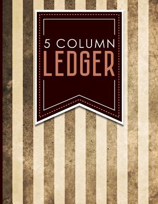 "5 Column Ledger: Ledger Pad, Accounting Ledgers For Small Business, Home Ledger Book, Vintage/Aged Cover, 8.5"" x 11"", 100 pages - Publishing, Moito"