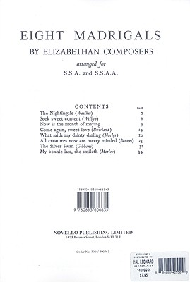8 Madrigals By Elizabethan Composers -