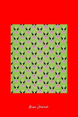 Alien Journal: Dot Grid Journal - Alien Head Pattern Green Cool Fun-ny UFO Space Gift - Red Dotted Diary, Planner, Gratitude, Writing, Travel, Goal, Bullet Notebook - 6x9 120 pages - Alien Journals, Gcjournals
