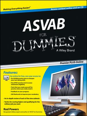 ASVAB for Dummies, Premier Plus (with Free Online Practice Tests) - Powers, Rod, and Consumer Dummies