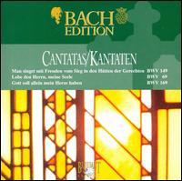 Bach: Cantatas BWV 149, 69 & 169 - Bas Ramselarr (bass); John Wilson Meyer (oboe); Knut Schoch (tenor); Margaret Urquhart (violone); Nico van der Meel (tenor); Peter Frankenberg (oboe); Rien Voskuilen (organ); Ruth Holton (soprano); Sytse Buwalda (alto); Trudy van der Wulp (bassoon)