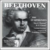 """Beethoven: Symphonies Nos. 6 """"Pastoral"""", 8, 9 """"Choral"""" - David Rendall (tenor); John Tomlinson (bass); Josephine Barstow (soprano); Linda Finnie (contralto); City of Birmingham Symphony Chorus (choir, chorus); City of Birmingham Symphony Orchestra; Walter Weller (conductor)"""