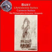 Bizet: L'Arlesienne Suites 1 & 2/Carmen Suites 1 & 2 - Frank Kaderabek (trumpet); John de Lancie (oboe); Murray Panitz (flute); Norman Carol (violin); Philadelphia Orchestra;...
