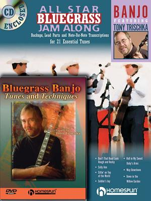 Bluegrass Banjo Pack: All Star Bluegrass Jam Along for Banjo (Book/CD) and Bluegrass Banjo Tunes & Techniques (DVD) - Trischka, Tony
