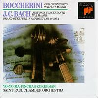 Boccherini: Cello Concerto in B flat major; J.C. Bach: Sinfonia Concertante in A major; Grand Overture (Symphony) Op. - Layton James (harpsichord); Pinchas Zukerman (violin); Yo-Yo Ma (cello); Saint Paul Chamber Orchestra
