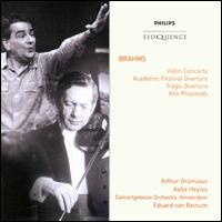 "Brahms: Violin Concerto; Alto Rhapsody; Overture - Aafje Heynis (contralto); Arthur Grumiaux (violin); Royal Male Choir ""Apollo"" (choir, chorus); Royal Concertgebouw Orchestra;..."