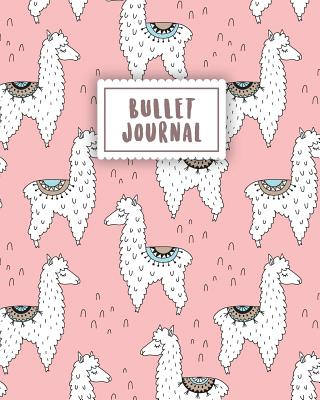 Bullet Journal: Cute Alpaca with Pastel Pink 150 Dot Grid Pages (Size 8x10  Inches) with Bullet Journal Sample Ideas