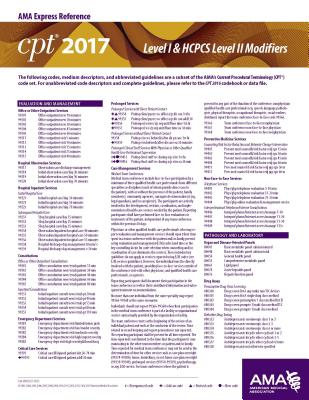 CPT & HCPCS 2017 Modifier Express Reference Coding Card - American Medical Association