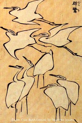 """Cranes from Quick Lessons in Simplified Drawing: Katsushika Hokusai - """"6x 9"""" Lined Notebook-Work Book, Planner, Journal, Diary 100 Pages - Perfect Gift Notebook"""