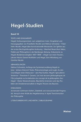 Hegel-Studien Band 10 (1975) - Poggeler, Otto (Editor), and Nicolin, Friedhelm (Editor)