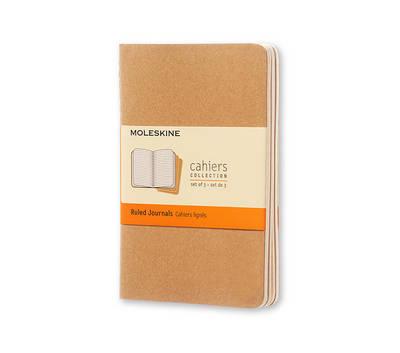 Moleskine Ruled Cahier Journal Kraft Pocket: Set of 3 Ruled Journals - Moleskine