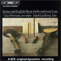 Italian and English Music for Recorder and Lute - Clas Pehrsson (recorder); Jakob Lindberg (lute)