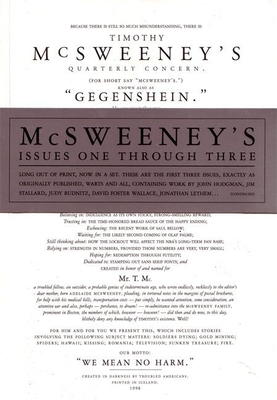 McSweeney's Issues One Through Three - Eggers, Dave (Editor)