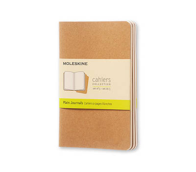 Moleskine Plain Cahier Journal Kraft Pocket: Set of 3 Plain Journals - Moleskine