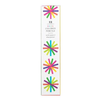 Neon Colored Pencil Set with Pencil Sharpener - Mudpuppy, Galison