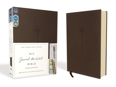 NIV, Journal the Word Bible, Imitation Leather, Brown, Red Letter Edition, Comfort Print: Reflect, Take Notes, or Create Art Next to Your Favorite Verses - Zondervan