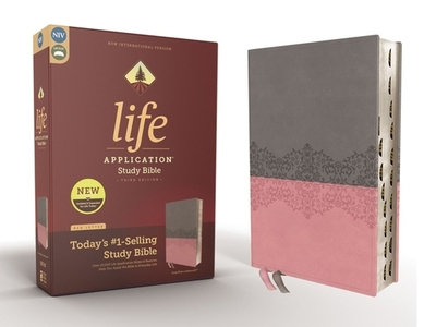 NIV, Life Application Study Bible, Third Edition, Leathersoft, Gray/Pink, Red Letter, Thumb Indexed - Zondervan