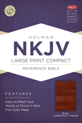 NKJV Large Print Compact Reference Bible, Brown Cross Leathertouch, Indexed - Holman Bible Staff (Editor)