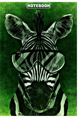 Notebook: Cute Zebra Notebook/Journal for Kids or Animal Lovers to Writing (6x9 Inch.) College Ruled Lined Paper 120 Blank Pages for Children (Glasses Green&Black&White Pattern) - Pets, Sounding