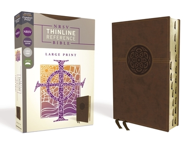 Nrsv, Thinline Reference Bible, Large Print, Leathersoft, Brown, Indexed, Comfort Print - Zondervan