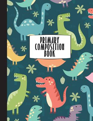 """Primary Composition Book: Primary Composition Notebook K-2, 8.5"""" X 11"""" Dinosaur Notebook for Boys, Handwriting Notebook (Top Line, Dotted Mid-Line, Baseline) for Kindergarten, 1st, & 2nd Grades, Primary Composition Books - Co, Happy Eden"""