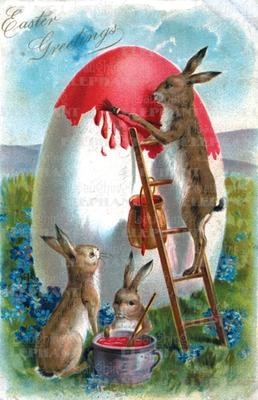 Rabbit on Ladder-Greeting Card (6 Cards Individually Bagged W/ Envelopes & Header) - Publishing, Blue Lantern