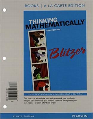 Thinking Mathematically, Books a la Carte Edition - Blitzer, Robert F