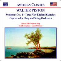 Walter Piston: Symphony No. 4; Three New England Sketches; Capriccio for Harp and String Orchestra - Therese Elder Wunrow (harp); Seattle Symphony Orchestra; Gerard Schwarz (conductor)